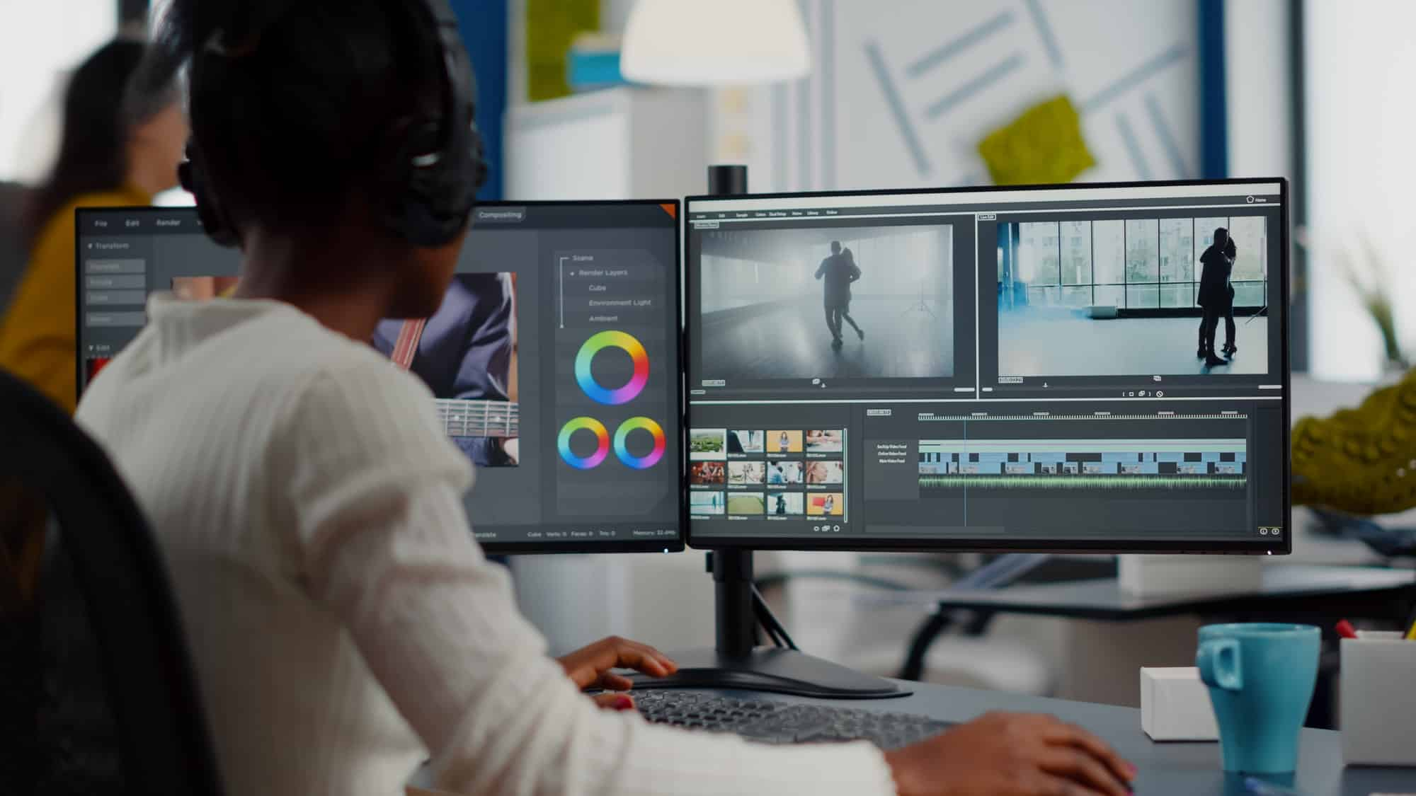 African video editor working with footage and sound